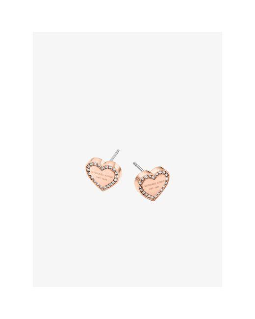 Michael Kors | Pink Pavé Rose Gold-tone Heart Charm Earrings | Lyst
