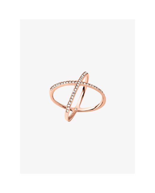 Michael Kors | Pink Pavé Rose Gold-tone Ring | Lyst