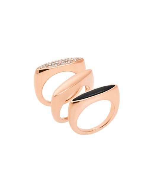 Michael Kors | Pink Rose-gold Ring Stack | Lyst