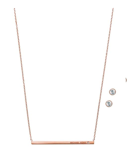 Michael Kors | Pink Bar Pendant Necklace And Stud Earrings Set | Lyst