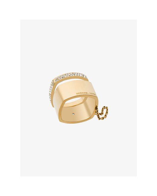 Michael Kors | Metallic Pavé Gold-tone Double Ring | Lyst