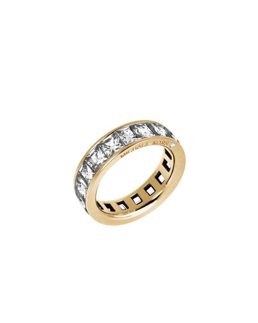 Michael Kors | Metallic Baguette Crystal Gold-tone Ring | Lyst