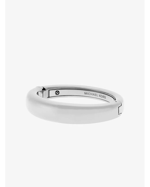 Michael Kors | Metallic Silver-tone Hinge Bangle | Lyst