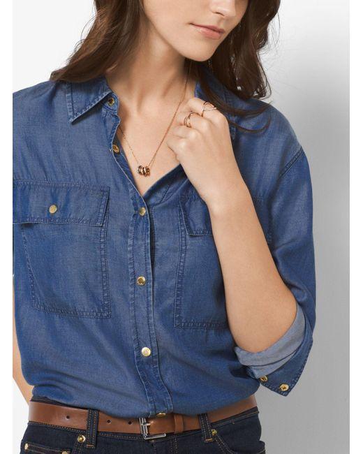 Michael Kors | Multicolor Tri-tone Logo Pendant Necklace | Lyst
