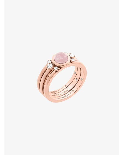 Michael Kors | Pink Rose Gold-tone Genuine Rose Quartz Ring | Lyst