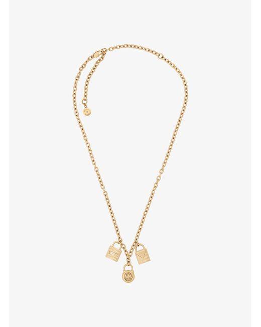 Michael Kors | Metallic Gold-tone Padlock Charm Necklace | Lyst