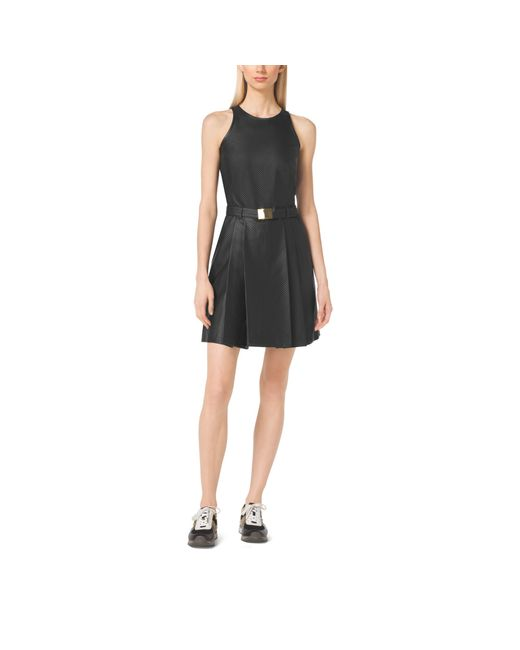Michael Kors   Black Perforated Belted Dress   Lyst