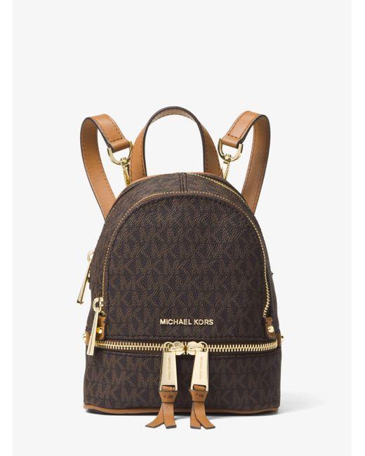 Michael Kors - Brown Rhea Mini Logo Backpack - Lyst