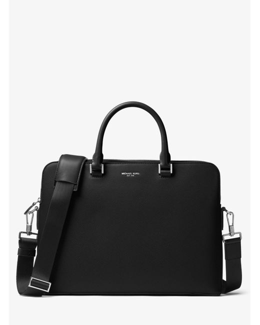 Michael Kors | Black Harrison Leather Briefcase for Men | Lyst