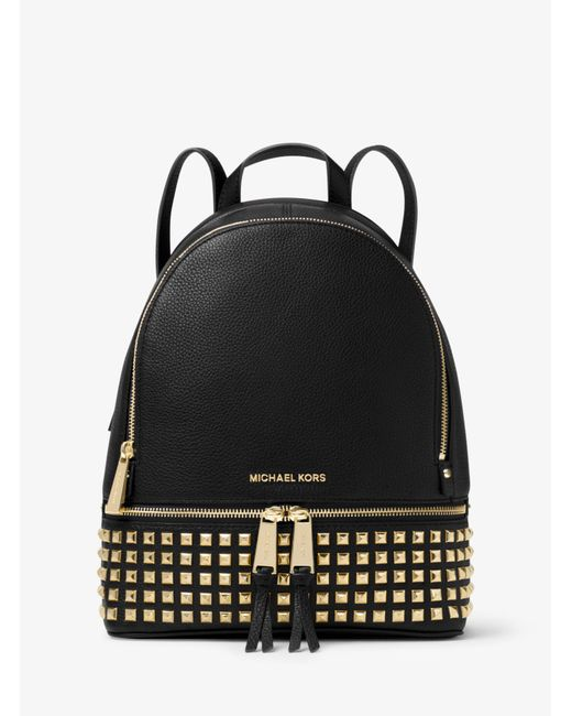 Michael Kors - Black Rhea Small Studded Leather Backpack - Lyst