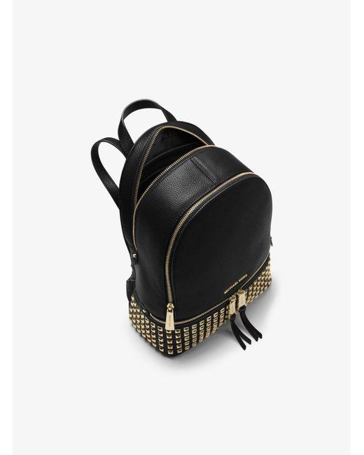 Michael Kors | Black Rhea Small Studded Leather Backpack | Lyst