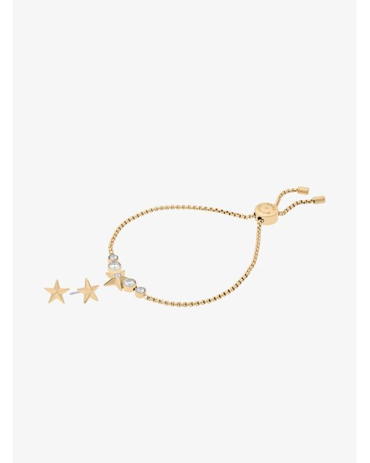 Michael Kors - Metallic Gold-tone Star Slider Bracelet And Earrings Set - Lyst