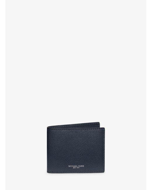 Michael Kors - Blue Harrison Slim Leather Billfold Wallet for Men - Lyst