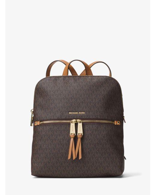 31b2e36435c244 MICHAEL Michael Kors - Brown Rhea Medium Slim Logo Backpack - Lyst ...