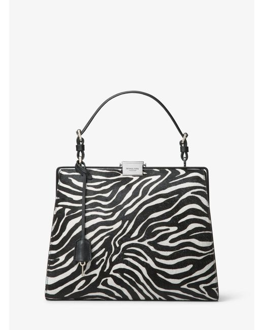 Michael Kors - Black Simone Zebra Calf Hair Top-handle Bag - Lyst