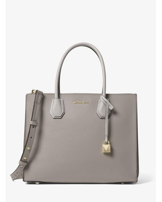 Michael Kors - Gray Mercer Large Pebbled Leather Accordion Tote - Lyst