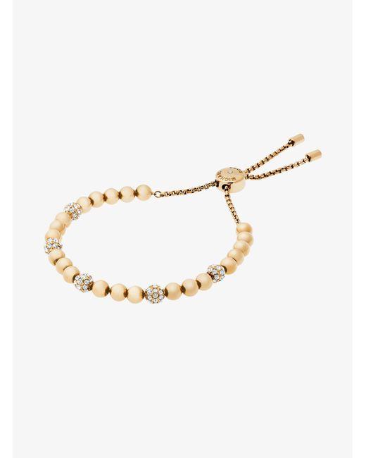 Michael Kors - Brown Padlock Rose Gold-tone Toggle Bracelet - Lyst