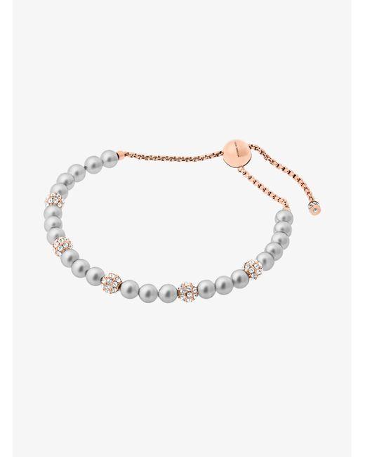 Michael Kors - Metallic Rose Gold-tone Glass Pearl Slider Bracelet - Lyst