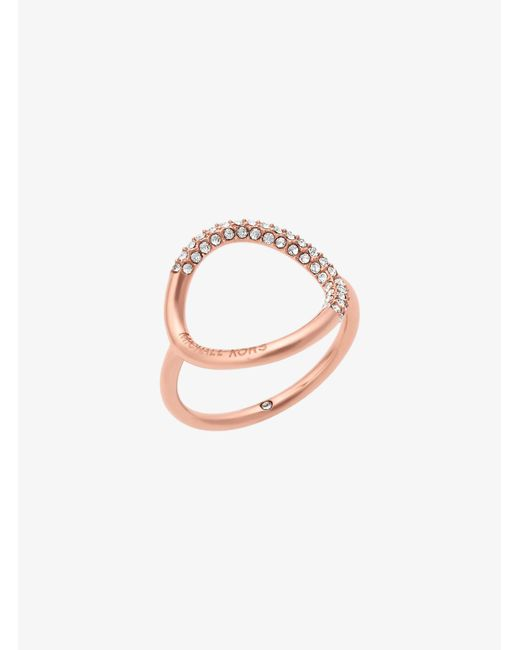 Michael Kors   Multicolor Rose Gold-tone Pave Ring   Lyst