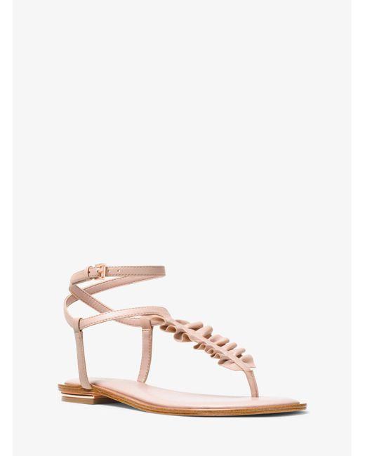 Michael Kors - Pink Bella Ruffled Leather Sandal - Lyst