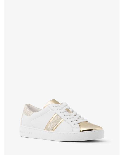 Michael Kors - Metallic Frankie Leather And Logo Sneaker - Lyst