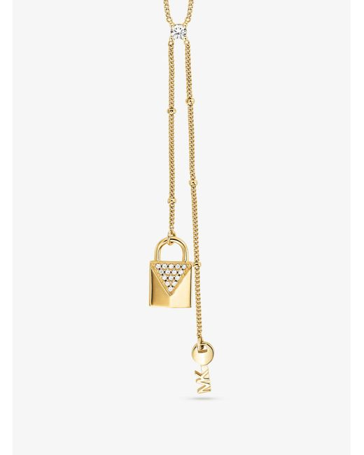 Michael Kors - Metallic Precious Metal-plated Sterling Silver Lock And Key Lariat Necklace - Lyst
