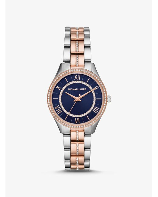 bc2e6bbd80b8 Michael Kors - Metallic Lauryn Crystal Two-tone Stainless Steel Watch - Lyst  ...
