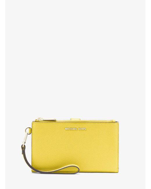 MICHAEL Michael Kors Yellow Adele Pebbled Leather Smartphone Wallet