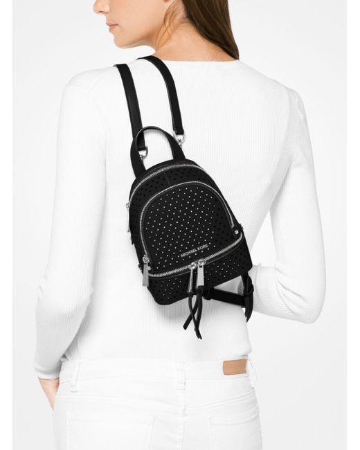 Michael Kors Rhea Mini Perforated Leather Backpack In