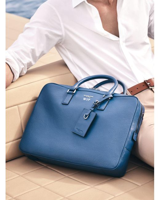 Michael Kors   Blue Bryant Large Leather Briefcase for Men   Lyst