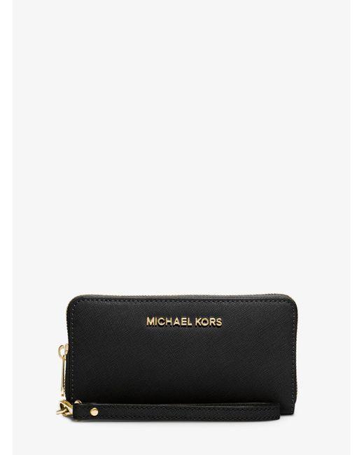 Michael Kors | Black Jet Set Travel Large Smartphone Wristlet | Lyst