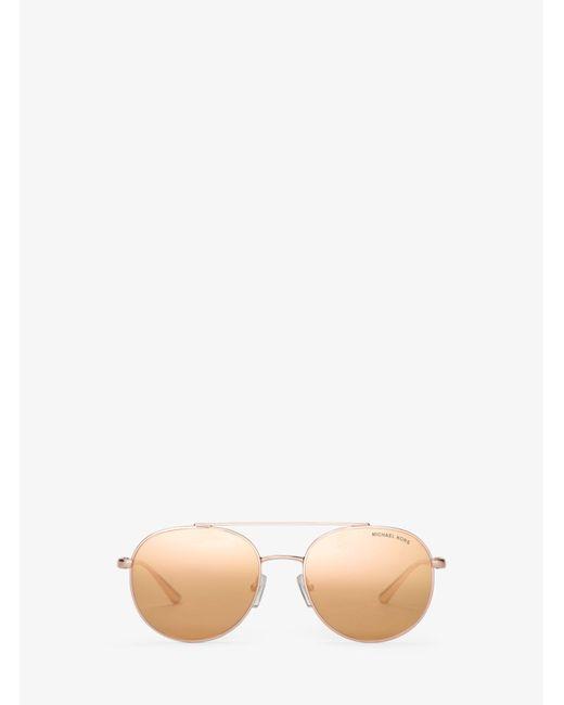 Michael Kors - Pink Lon Rounded Aviator Sunglasses - Lyst