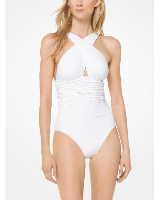 Michael Kors - White Cross-front Maillot - Lyst