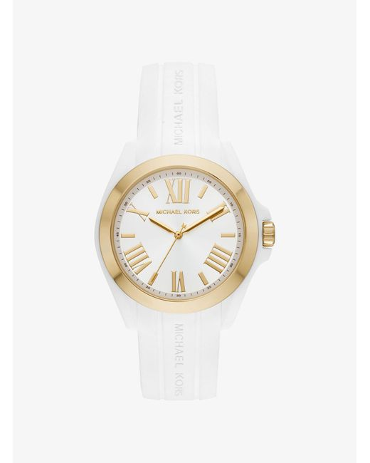 Michael Kors - White Bradshaw Gold-tone And Silicone Watch - Lyst