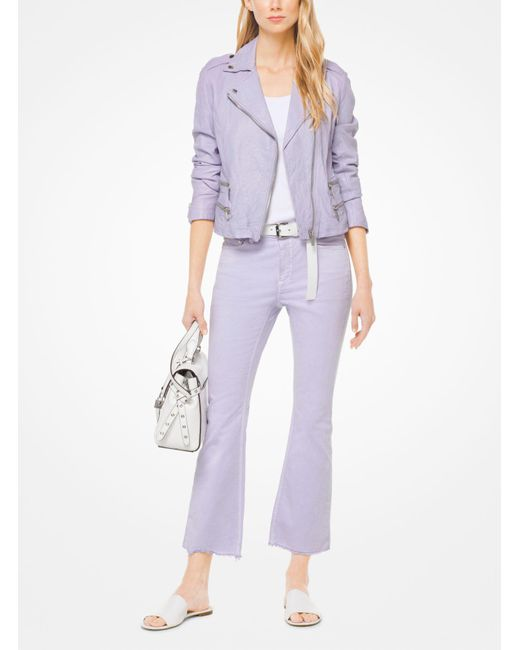 Michael Kors - Purple Crinkled Leather Biker Jacket - Lyst