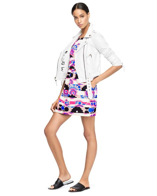 MILLY | White + Michael De Feo Floral Leather | Lyst