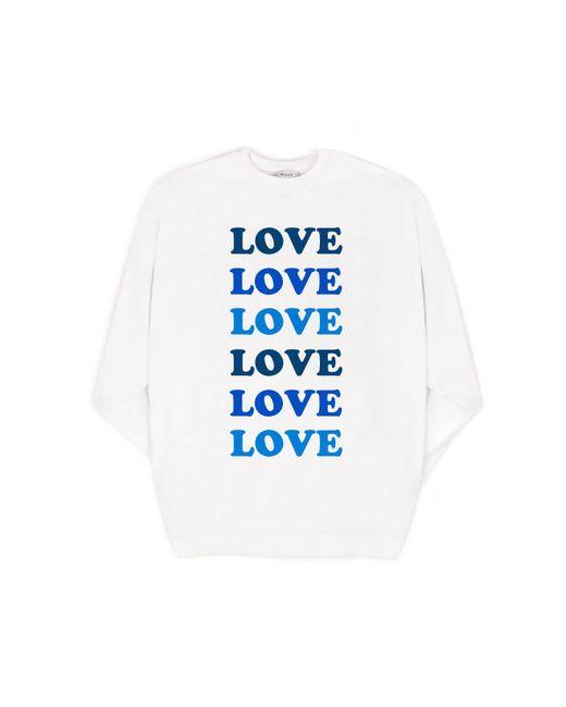 MILLY - White Love Oversized Sweatshirt - Lyst