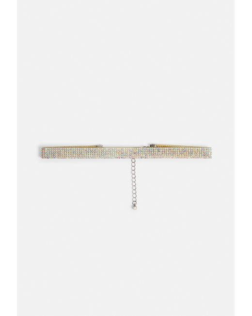 Missguided - Metallic Silver Diamante Choker Necklace - Lyst
