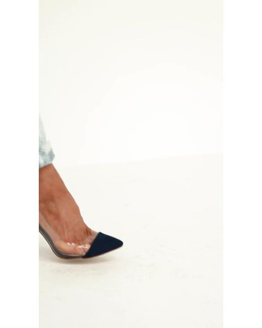1ff0b45d52f ... Missguided - Blue Covered Toe Clear Court Heels - Lyst ...