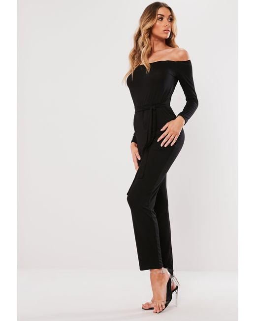 bb5b6dd6a21 Missguided Black Bardot Belted Jumpsuit in Black - Lyst