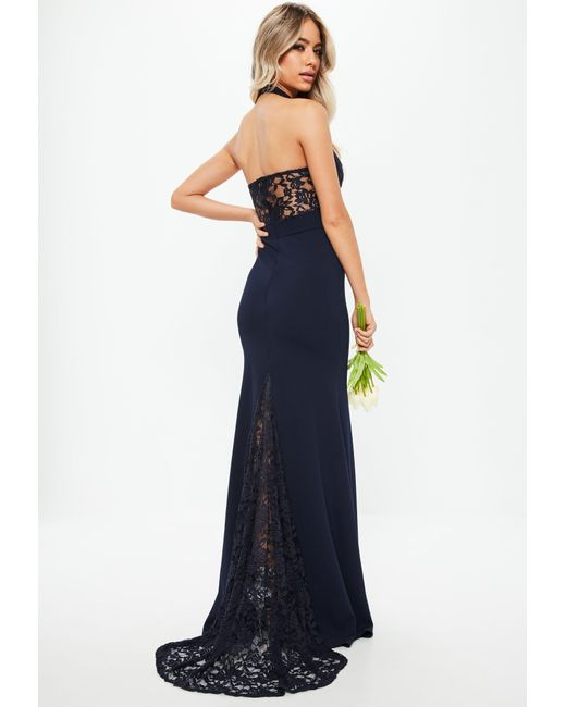 Lyst - Missguided Navy Halterneck Lace Insert Fishtail Dress in Blue