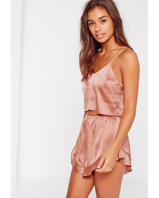 Missguided - Cropped Cami Pj Set Pink - Lyst