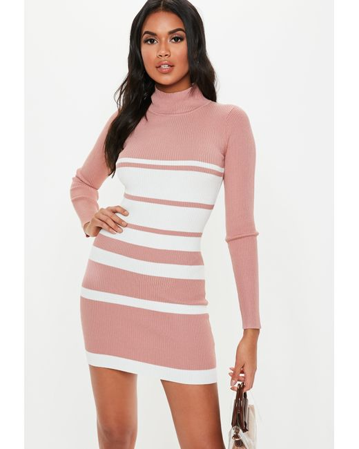 b1ed9cb551 Lyst - Missguided Pink Stripe High Neck Knitted Dress in Pink