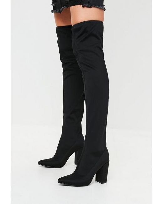 0b940442940 Missguided Black Pointed Neoprene Over The Knee Boots in Black ...