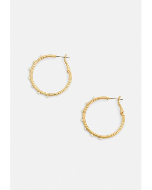 Missguided - Metallic Gold Pearl Detail Hoop Earrings - Lyst