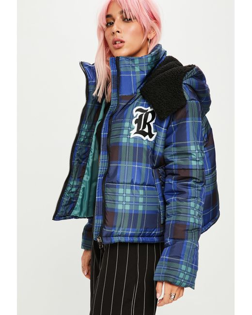 Missguided - Blue Check Cropped Padded Jacket - Lyst