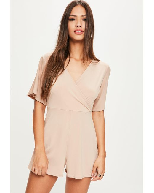 Missguided | Natural Nude Slinky Wrap Playsuit | Lyst