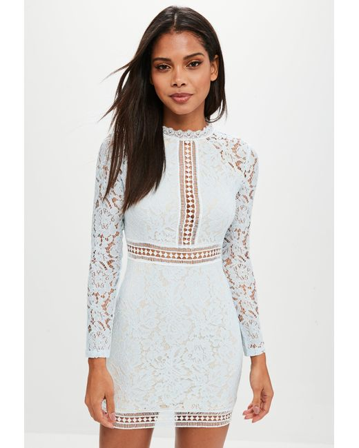 Missguided - Blue Lace Ladder Trim Bodycon Dress - Lyst ...