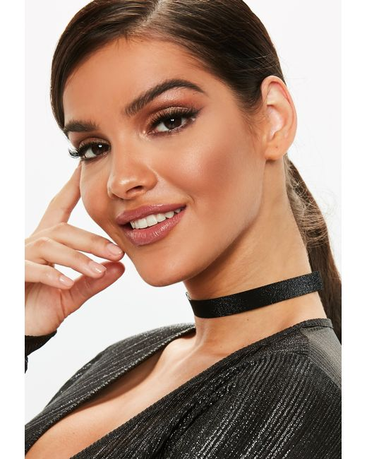 Missguided - Black Sparkle Choker Necklace - Lyst