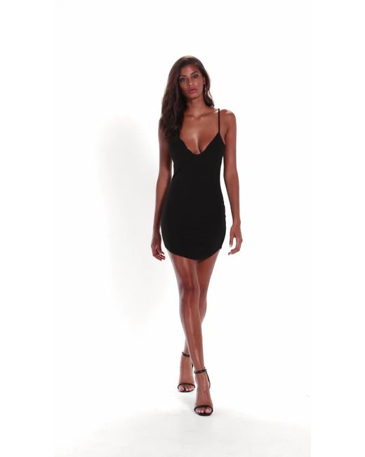79d29dc16a87 Missguided Petite Black Strappy Plunge Bodycon Dress in Black - Save ...